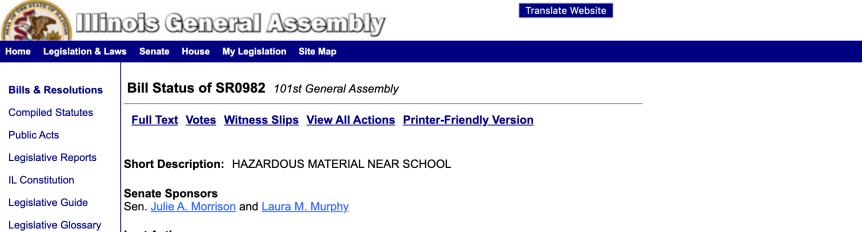 ACTION ALERT:  SR0982  Hazardous Material NearSchool